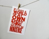 Alice in Wonderland Red Letterpress Poster, If I had a World of My Own Everything Would Be Nonsense, Colorful Children's Wall Art