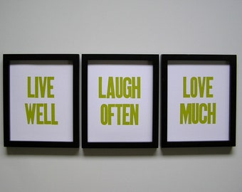 Live Well, Laugh Often, Love Much Letterpress Prints (Set of 3), Chartreuse