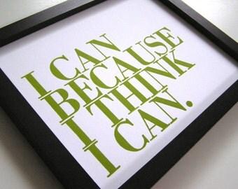 Motivational Art, 8x10 I Can Because I Think I Can Letterpress Print (Spring Green), Children's Wall Decor, Inspirational Art