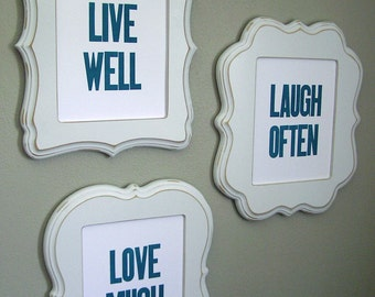 Live Well Laugh Often Love Much - Blue Letterpress Prints - Set of 3