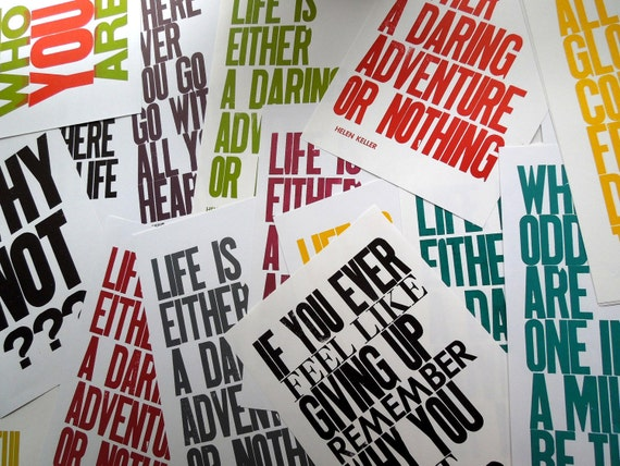 """SALE, 50% OFF Poster """"Oops"""" Sale, Your Choice of THREE 11 inch by 17 inch Letterpress Prints"""