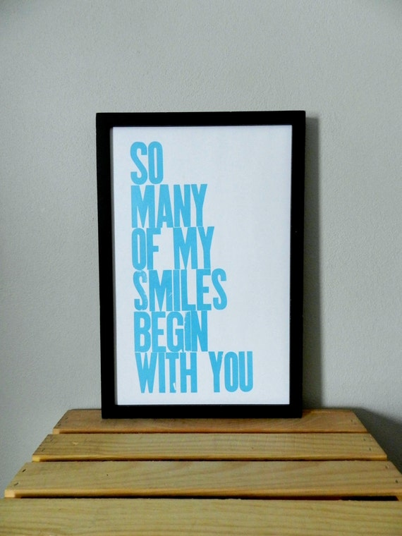 Poster, Art for Kids, Baby Art, Robin's Egg Blue, So Many of My Smiles Begin with You Letterpress Poster, 11 x 17 Typography Print