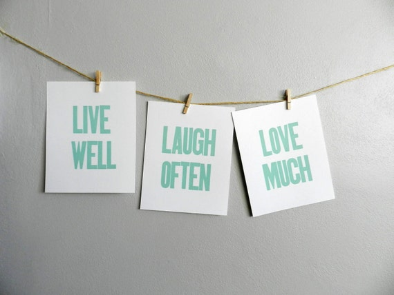items similar to live well laugh often love much seafoam green simple letterpress prints set. Black Bedroom Furniture Sets. Home Design Ideas