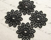 19mm sunburst round flat filigree - antiqued dark brass - (4 small medallions) aged black patina, pierced, center hole, blackened flower