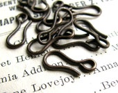 13mm hook clasp - dark antiqued brass - (10 hooks) aged, black patina, lead nickel free, made in the USA