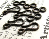 Medium hook and eye set - 14mm hook and 11mm figure eight eye - dark antiqued brass - (4 sets) aged black patina, lead nickel free