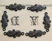 12mm mini paisley link - antiqued black brass (6 links) blackened patina, tiny small link