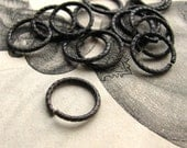 12mm etched jump ring - dark antiqued brass - (10 jump rings) aged black oxidized patina