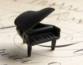 Baby Grand piano charm -  dark antiqued brass - moving lid (1 charm)