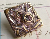 Lavender flower square Czech glass button - 27mm - gold hand painted, hand forged