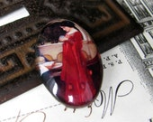 """25 x 18mm glass oval cabochon - handmade -  """"The Crystal Ball"""" (with skull) by John William Waterhouse, 1902"""