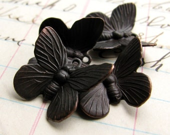 Butterfly charms - black antiqued brass (4 charms) dark aged patina, upturned wings, lead nickel free, garden insect