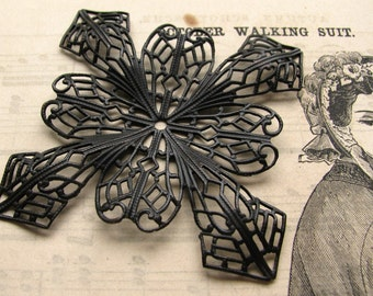 Giant Snowflake - 51mm antiqued black brass square filigree - black filigree - dark patina - large bendable filigree wrap