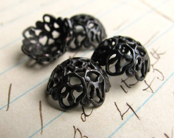 10mm domed filigree black bead cap, antiqued black brass (4 bead caps) aged dark patina, half demi sphere, lead nickel free BCG005