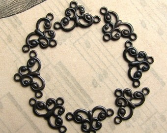 Mini flourish link, 13mm tiny necklace link, dark antiqued brass (8 connectors) aged black patina, butterfly shape, tiny links