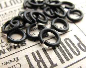 6mm x 7mm oval jump ring, black antiqued brass (20 rings) lead nickel free, black jump ring