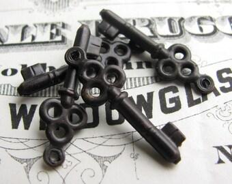 Jewelry box key charm - dark antiqued brass (4 key charms) small skeleton key, oxidized aged black patina