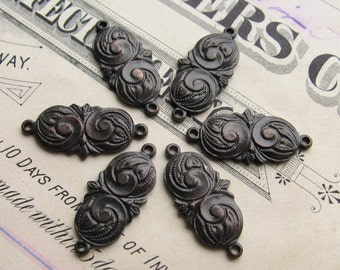 15mm chubby mini paisley link, dark antiqued brass (6 links) aged black patina, swirl design