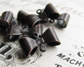 Brass bow links, black antiqued brass, 15mm, tied ribbon connector (6 double loop connectors) Belle Époque style Fallen Angel Brass