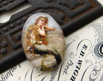 "Vintage 1930s advertisement  ""Mermaid Bath Salts""  - handmade glass oval cabochon 25x18mm 25x18 18x25mm  nautical legend"
