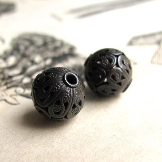 10mm luxury filigree bead, dark antiqued brass bead, aged black patina (2 round spheres) spherical orb, lead nickel free