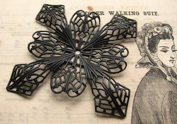 Giant Snowflake - 51mm antiqued black brass square filigree - black filigree - dark patina - large bendable filigree wrap