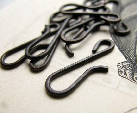 Large 21mm hook - hand flattened - dark antiqued brass - (4 hooks) aged black patina, oxidized finish