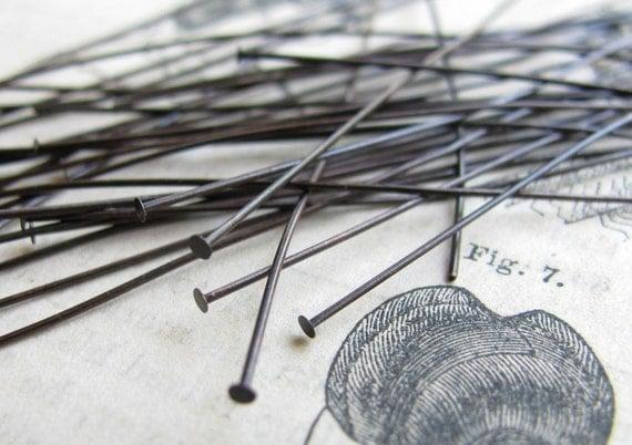 Antiqued brass headpin - long and thin 3 inch head pin - black brass  - 24 gauge (50 head pins)