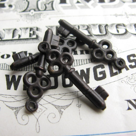 Jewelry box key charm - dark antiqued brass (4 key charms) black aged patina, small black key charm with loop