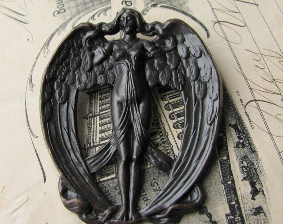Large brass angel wings ornamen, stamping- black patina antiqued brass - 62mm, dark oxidized finish, flowing hair OR-FF-011