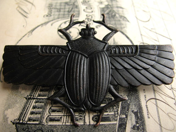 Egyptian scarab beetle with wings - dark antiqued brass - 70mm - black patina - giant, large, huge - OR-FF-013