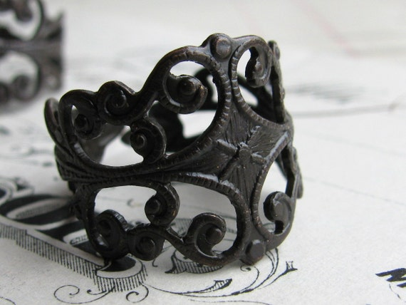 Brass filigree ring blank, adjustable base, black antiqued patina, fits sizes 6 to 9 (2 rings) dark, made in USA, lead nickel free FL-SG-001