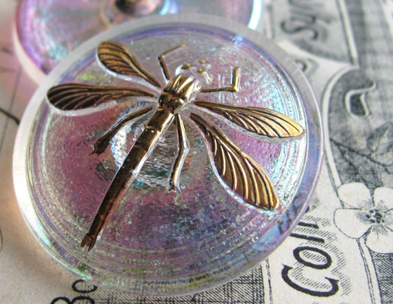 31mm clear iridescent dragonfly Czech glass button - hand painted, hand forged - Bohemian glass - pink undertone