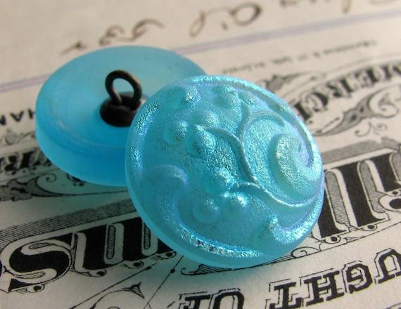 Frosted aqua blue berries Czech glass buttons - 18mm (2 buttons) hand forged