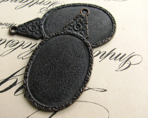 25x18mm floral cameo setting, black antiqued brass (2 frame mountings) 18x25mm 25mm 18, dark aged patina mount