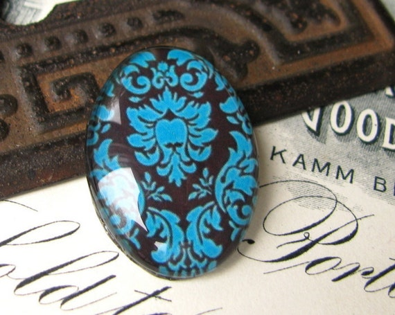 25 x 18 mm glass oval cabochon - handmade -  Turquoise damask