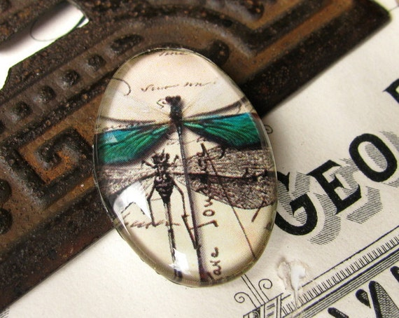 Dragonflies with emerald green wings - 25 mm x 18 mm handmade glass oval cabochon - insect, bug, garden, woodland, specimen drawing 152