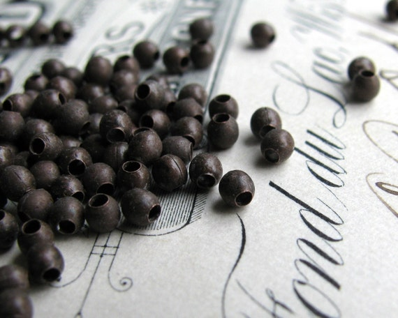 2mm brass bead, smooth dark brass (50 beads) tiny spacer bead, aged brown patina, small size accent bead, lead nickel free