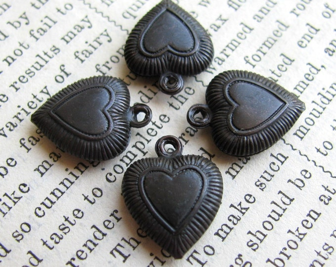 Etched heart charm, black antiqued brass (4 charms) light weight brass charm, 13mm, black charm, black brass, small, delicate, made in USA