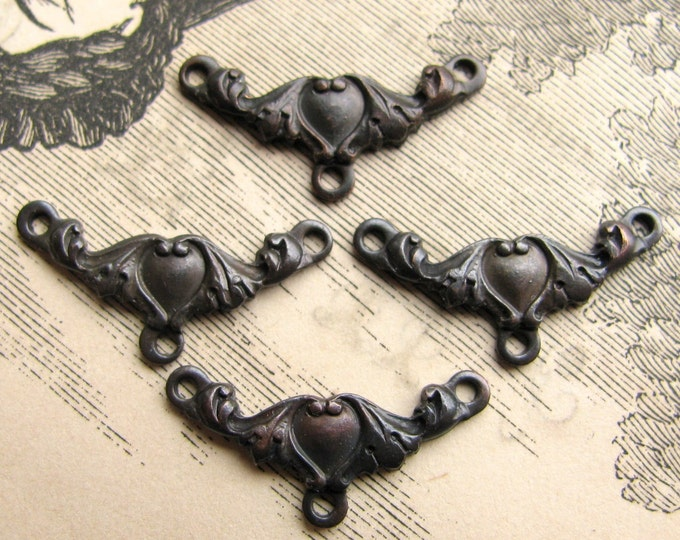 Victorian Heart  necklace link - dark antiqued brass (4 links) aged black patina, Victorian Mourning