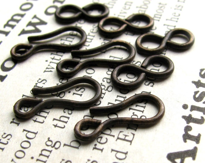 Medium hook and eye set - 14mm hook and 11mm figure eight eye - dark antiqued brass - (4 sets) aged black patina, lead nickel free