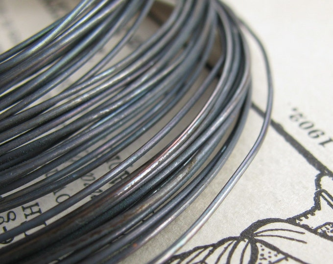 22 gauge black patina, hand antiqued wire, dead soft (10 foot coil) (3 meters) rustic coiled wire coils, 22g 22ga oxidized copper wire