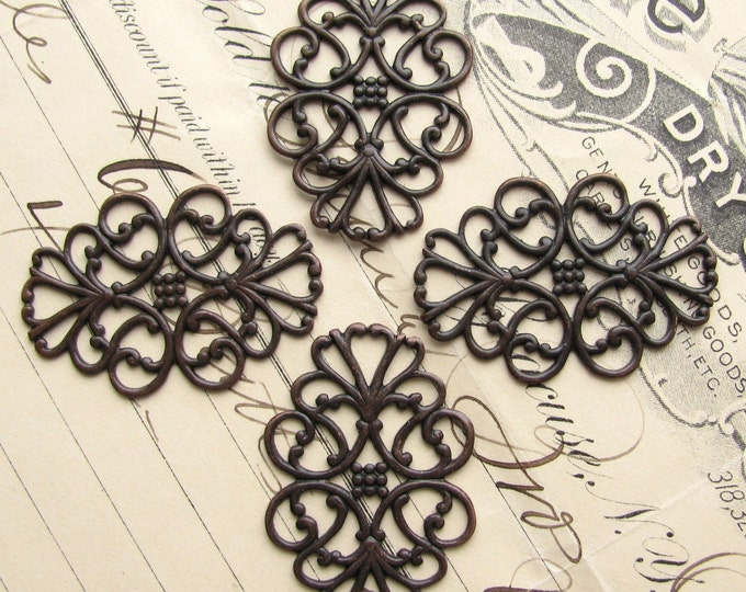 Oval ornaments - Ladies in Waiting - 34mm x 22mm (4 filigree) antiqued black brass, lacy filigree, lace
