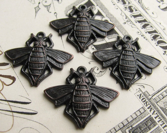 Honey Bee charms, blackened antiqued brass (4 charms) Victorian flat bee charms, black bee charm, brass bee charms
