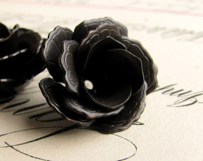 Exclusive to Fallen Angel Brass - Nesting bead caps, fully bloomed lacy black roses - black antiqued brass (2 bead cap sets) blackened brass