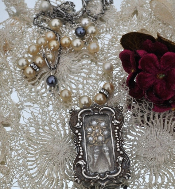 Vintage Assemblage Filigree Memory Shadow Box Necklace With Wire Wrapped Pearl Chain