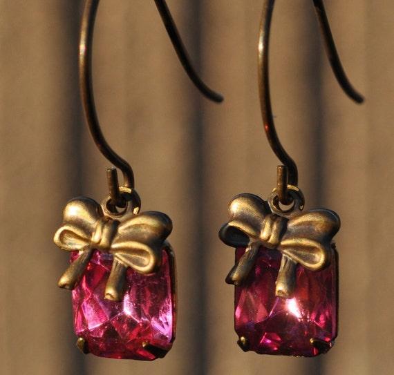Vintage Assemblage Petite Pink Pretties Pink Glass Rhinestone Dangle Drop Earrings