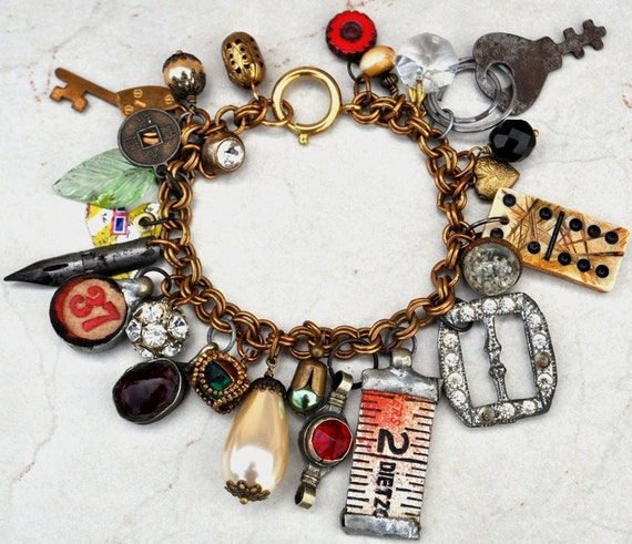 Vintage Treasure Chest Charm Bracelet Pirates of the Caribbean Upcycled Salvage