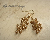 Gold Glass Pearl Cluster and Chain Earrings