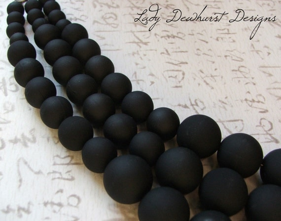 Rubberized Acrylic Beaded Necklace - 3 strands